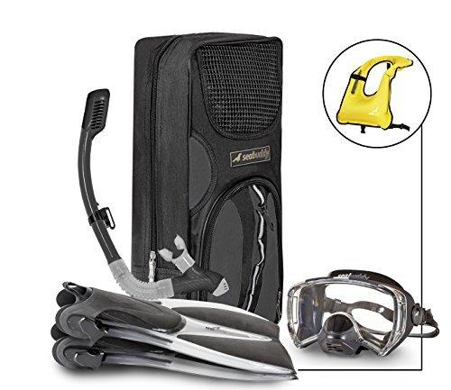 SealBuddy FIJI Panoramic Snorkel set + Premium Travel Gear Bag ( Transparent/Black, Large/XL Size 8 to 12)