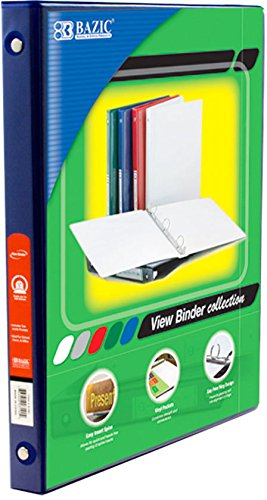 "BAZIC 1/2"" Blue 3-Ring View Binder w/ 2-Pockets, Case Pack of 12"