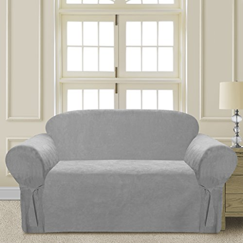 Elegant and Comfortable P&R Bedding Microsuede Sofa Furniture Slipcover (Loveseat, Light Grey) - Furniture Slipcover Loveseat