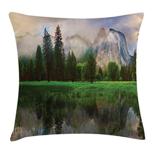 Riverside Deck Chair Set (Yosemite Throw Pillow Cushion Cover by Ambesonne, Sunset Panorama of Yosemite Cathedral Rocks Trees Cloudy Sky Reflection Riverside, Decorative Square Accent Pillow Case, 36 X 36 Inches, Beige Green)
