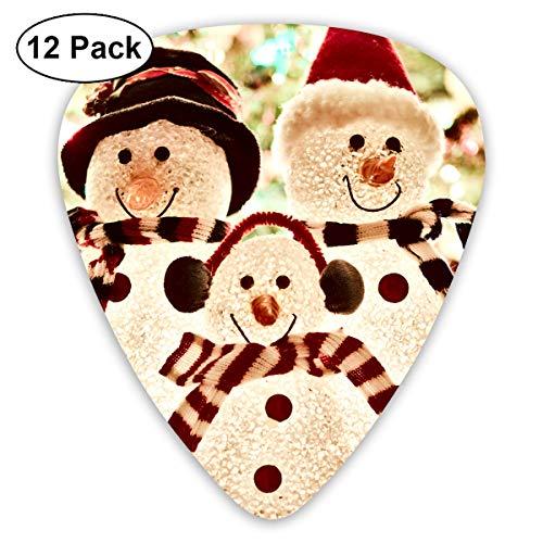 Bright Celebration Christmas Lights Season Snowman Bendy Ultra Thin 0.46 Med 0.73 Thick 0.96mm 4 Pieces Each Base Prime Plastic Jazz Mandolin Bass Ukelele Guitar Pick Plectrum Display