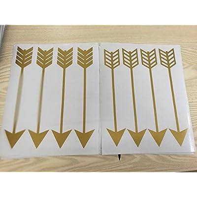Set of 24 Arrow Pattern Wall Sticker Tribal Arrow Decals Vinyl Kids Nursery Bedroom Decoration Wallpaper YYU-9 (Gold): Home Improvement