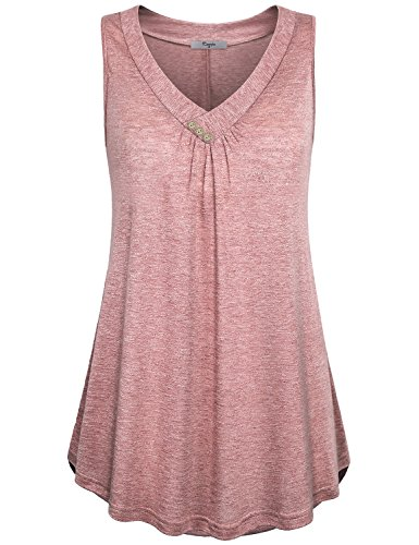Cestyle Flowy Tank Shirt, Womens Business Casual Clothes V Neck Pleat Sleeveless Tunic Dress Buttons Decorative Drape Tops Red XX-Large