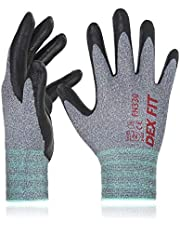 DEX FIT Level 5 Cut Resistant Gloves Cru553, 3D Comfort Stretch Fit, Durable Power Grip Foam Nitrile, Pass FDA Food Contact, Smart Touch, Thin Machine Washable