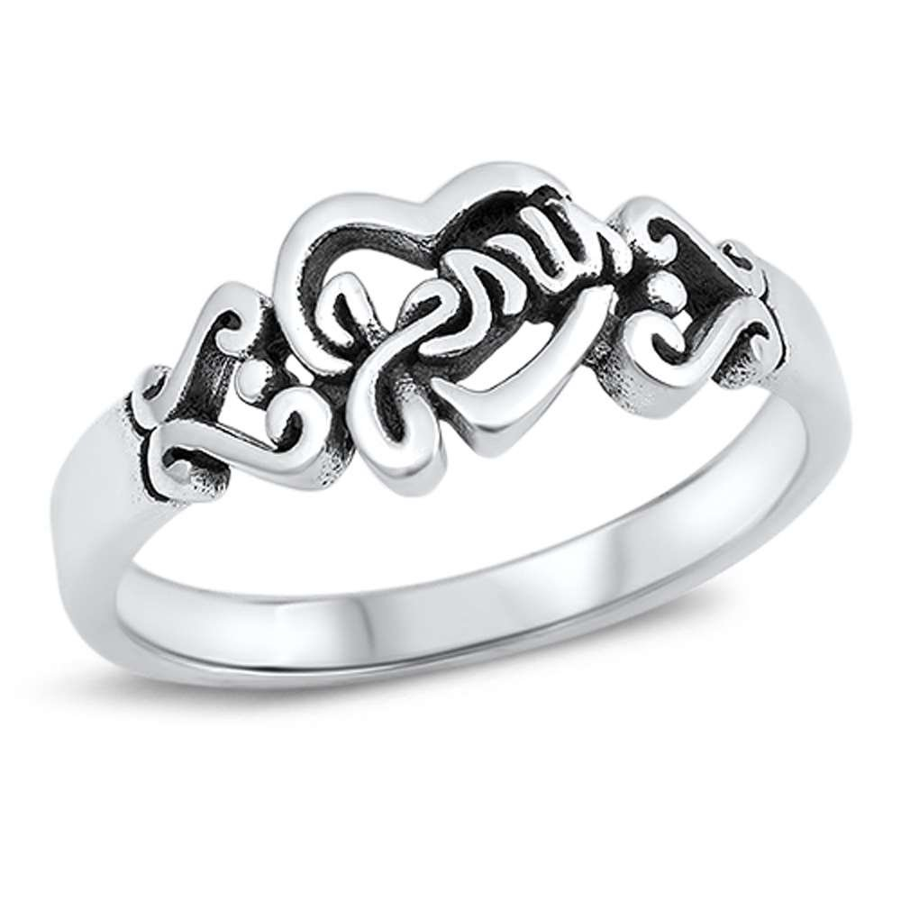 Plain Heart and Jesus Band .925 Sterling Silver Ring Sizes 7
