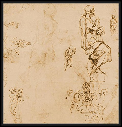 Sketches of male nudes a madonna and child and a decorative emblem