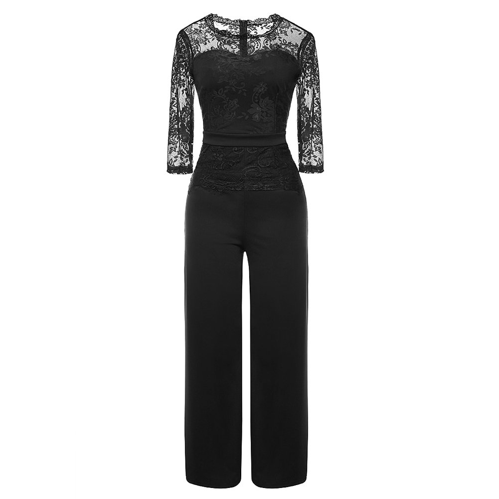 Women's Sexy Lace Patchwork Jumpsuit 3/4 Sleeve Peplum High Waist Long Wide Leg One Piece Rompers Outfit Party Clubwear Black L