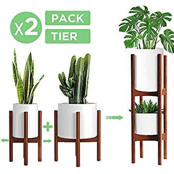 2 Pack Indoor Plant Stands, 2 Tier Tall (30 inches) Mid Century Modern Bamboo Wood Plant Stand, Adjustable Width 8 to 12 inches, Fits Pot Size of 8 9 10 11 12 inches (Pot & Plant Not Included), Brown