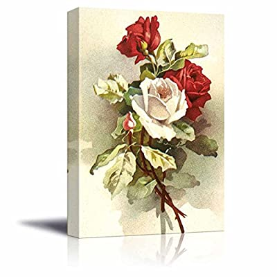 Canvas Prints Wall Art - Flowers Illustration with Rose - 12