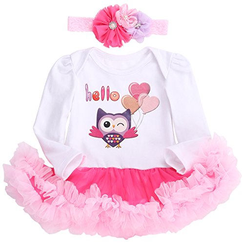 Smilsheep Princess Party 2 Piece Dress Outfit Clothing Head Set owl long sleeve 4-6Months/23-26''/13-18lb