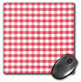 3dRose 8 X 8 X 0.25 Red And White Gingham Pattern Retro Checks Checkered Checked Rustic Italian Kitchen Dining Theme Mouse Pad (mp_113016_1)
