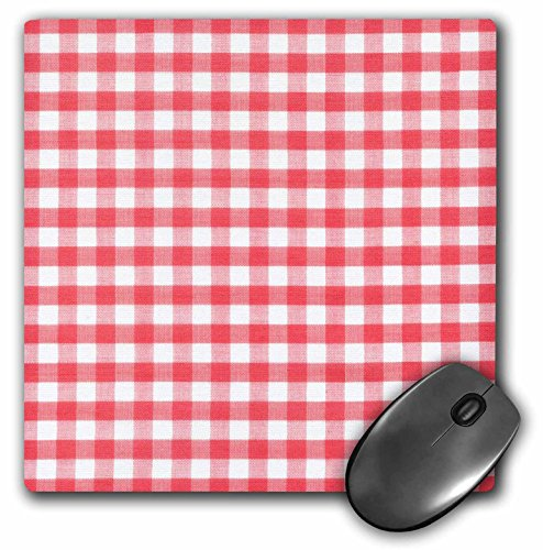 Price comparison product image 3dRose 8 X 8 X 0.25 Red And White Gingham Pattern Retro Checks Checkered Checked Rustic Italian Kitchen Dining Theme Mouse Pad (mp_113016_1)