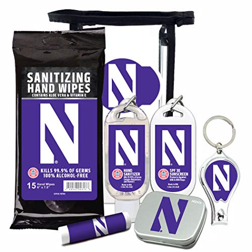 Northwestern Wildcats 6-Piece Fan Kit with Decorative Mint Tin, Nail Clippers, Hand Sanitizer, SPF 15 Lip Balm, SPF 30 Sunscreen, Sanitizer Wipes. NCAA Gifts for Men and Women