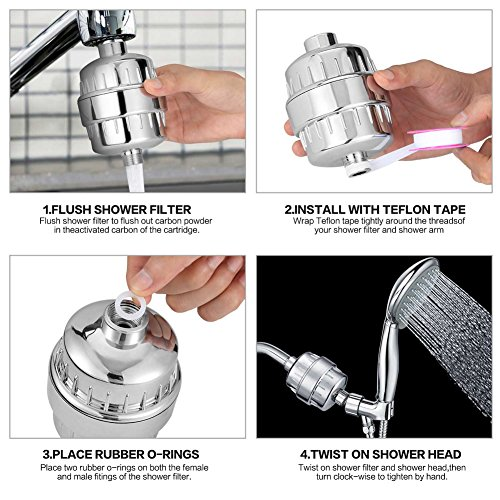 Budalga Universal Shower Water Filter With 2PCS Replaceable Multi-Stage Filter Cartridge Chrome Work With Any Shower Head by Budalga (Image #4)