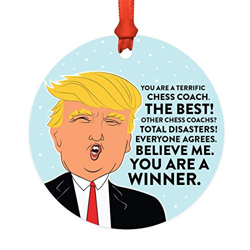 Andaz Press Round Natural Wood MDF Christmas Ornament Gift, Funny President Donald Trump, Terrific Chess Coach, 1-Pack, Includes Ribbon, Keepsake Birthday Christmas Gifts