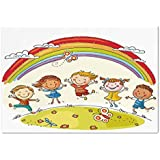 Large Wall Mural Sticker [ Rainbow,Kids Jumping with Joy on a Hill Under Rainbow Cartoon Style Drawing Decorative,Earth Yellow Multicolor ] Self-adhesive Vinyl Wallpaper / Removable Modern Decorating