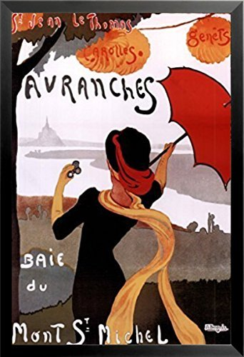 Buyartforless Framed Avranches Baie du Mont St Michel by Albert Bergevin 36x24 Art Print Poster Vintage French Travel Poster Woman Scarf Red Umbrella