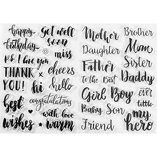 MaGuo Sentiment Clear Stamps Greeting and Blessing to Family Member for DIY Scrapbooking Photo Album Card Making Decorative