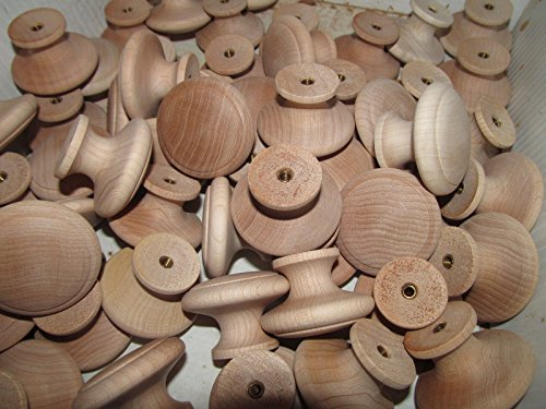 25 FACTORY NEW MAPLE UNFINISHED WOOD CABINET KNOBS / PULLS FLAT ROUND K - Polished Pewter Blocks