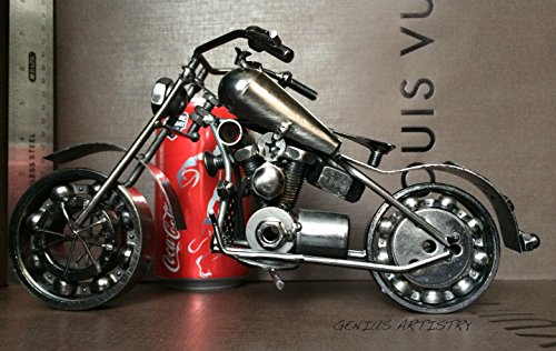 Collectible Art Sculpture Die Cast Harley Davidson Scrap Metal Motorcycle 10.5 inch Motorbike-Copper Finish