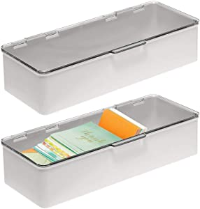 mDesign Plastic Stackable Box Home, Office Supplies Storage Organizer Box with Attached Hinged Lid - Holder for Note Pads, Gel Pens, Staples, Dry Erase Markers, Tape - 2 Pack - Light Gray