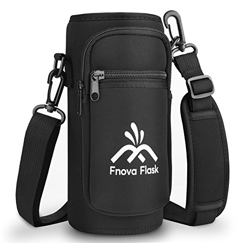 Water Bottle Carrier, Fnova 40 oz Water Bottle Pouch with Adjustable Shoulder Strap for 40 oz Hydro Flask Bottles , Protective Bottle Holder w/2 Pockets Fits Cell Phone, Keys or Any Credit Card