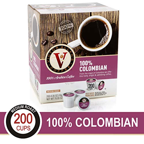 - 100% Colombian for K-Cup Keurig 2.0 Brewers, 200 Count Victor Allen's Coffee Medium Roast Single Serve Coffee Pods