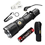 Klarus XT12S 1600 Lumens CREE XHP35 HI D4 LED Tactical Rechargeable Flashlight,Magnetic Charging Multi-mode Dual-switch Flashlight, with 1x18650 Battery,USB Cable,Holster,O-ring and SKYBEN USB Light