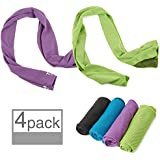 """N-One 4pack Evaporative Cooling Towels 40""""x12"""",Snap Cooling Towels for Sports, Workout, Fitness, Gym, Yoga, Pilates, Travel, Camping & More,Mix Colors"""