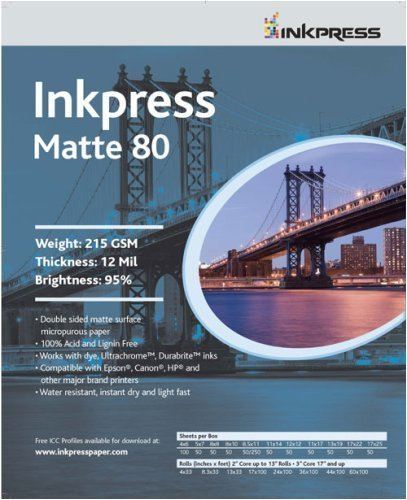 """Inkpress Duo Matte 80 Inkjet Paper, 215 gsm Weight, 12 mil Thickness, 95% Brightness, Double Sided, 13x19"""", 50 Sheets"""