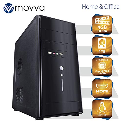 COMPUTADOR LITHIUM INTEL I5 7400 3.0GHZ 7ª GER MEMORIA 4GB HD 1TB HDMI/VGA LINUX FONTE 350W - MVLII5H1101T4 - MOVVA