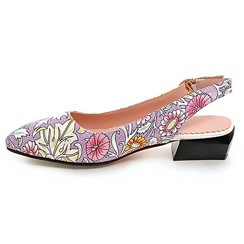 TAOFFEN Women Casual Floral Slingback Low Heel Court Shoes Shopping Dress Pink R0QRL