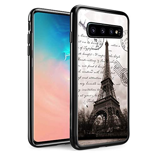 Tech Tower - FTFCASE Replacement for Samsung Galaxy S10 Plus Case, Black TPU Rubber Gel Design for Galaxy S10+ 6.4 inch 2019 - Restoring Ancient Ways is The Eiffel Tower