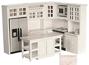 Melody Jane Dollhouse Modern Fitted Kitchen Furniture Set Pink Marble Effect Worktops 8pc