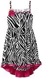 Rare Editions Girls Plus-Size 7-16 Zebra Print High Low Dress, Black/White/Fuchsia, 10.5 image