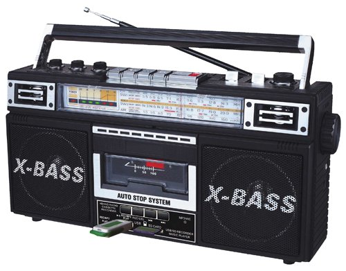 QFX AM/FM/SW1-SW2 4 Band Radio and Cassette to MP3 Converter, and Recorder with USB/SD/MP3 Player J22UBLK
