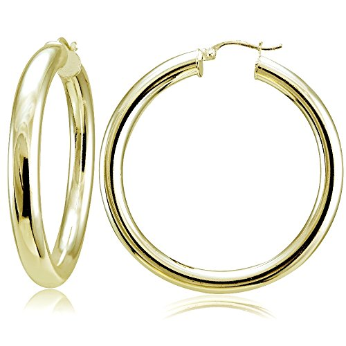 - Hoops & Loops Flash Plated Gold Sterling Silver 5mm High Polished Round Hoop Earrings, 40mm