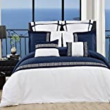 LUXURIOUS Astrid Navy & White Embroidered 12 Piece (12PC) Queen Size COMFORTER SET, Ultra Soft Single Ply Wrinkle Free Brushed Microfiber. Includes 100% EGYPTIAN COTTON Bed Sheet Set & Super Soft All Season White Goose Down Alternative Comforter