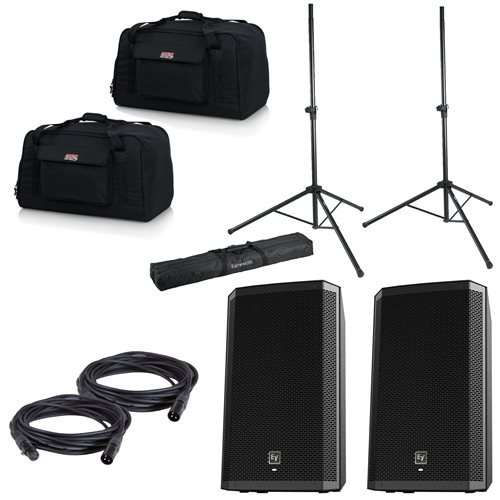 Electro-Voice ZLX12P Powered Speakers (2) with Gator Stands & Tote Bags by Electro Voice