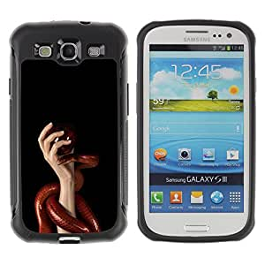 ZAAAZ Rugged Armor Slim Protection Case Cover Durable Shell - Red Snake & Hand - Samsung Galaxy S3