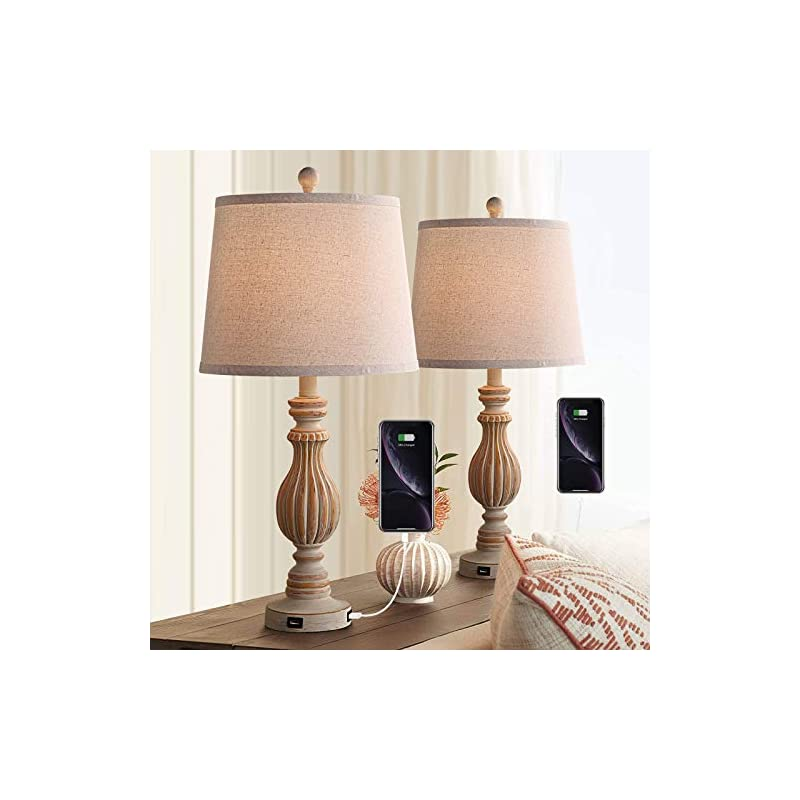 """Rustic Table Lamp Set of 2, 26"""" Farmhouse Nightstand Lamp with USB, Vintage Bedside Nightlight Lamp for Bedroom Living Room Foyer Study, Beige Shade, Pack of 2 (Beige)"""