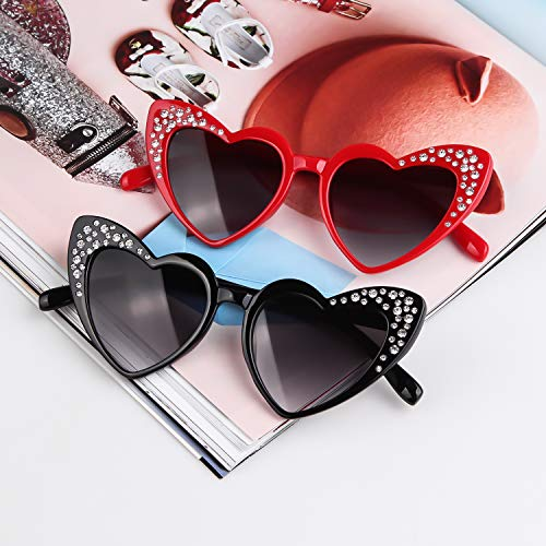 Love Heart Shaped Sunglasses Women Vintage Christmas Giftv For Girls (red, gray) by ADEWU (Image #5)