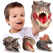Geyiie Dinosaur Hand Puppets, Soft Rubber Dinosaur Toys Set, Realistic Tyrannosaurus, Dilophosaurus, Tricerato
