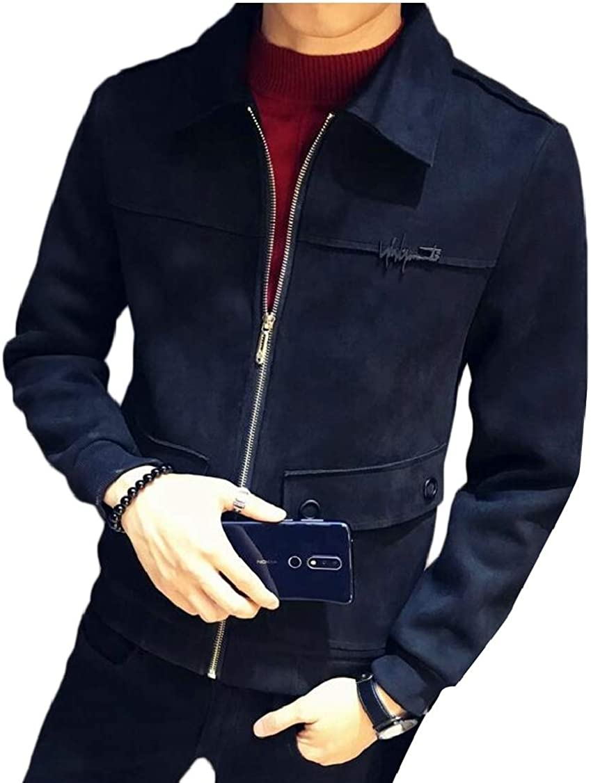 XQS Mens Autumn Zip up Slim Lapel Suede Jacket Outwear with Pocket