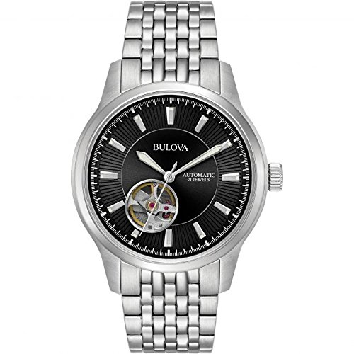 Jewels Automatic Watch - Bulova Men's Stainless Steel 21 Jewel Automatic Watch with See Thru Case Back