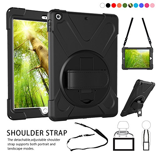 Heavy Duty Silicone Skin Case (ZenRich New iPad 9.7 2017 2018 Case,360 Degree Rotatable Handle Stand Hardstrap Layer Shockproof Dropproof Hybrid Heavy Duty Skin W/Kickstand shoulder harness for iPad 9.7