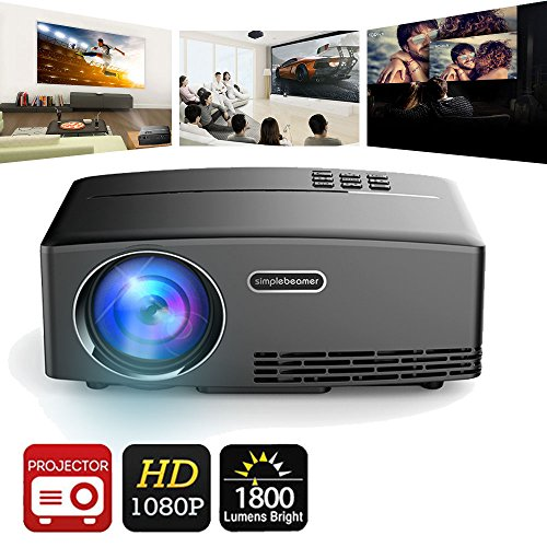 Video Projector 1800 Lumens (with AV Cable),Weton 180
