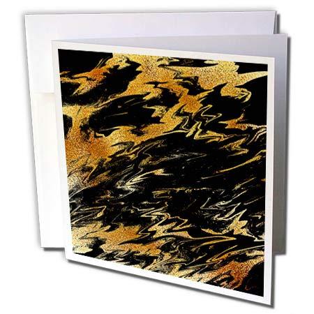 3dRose Uta Naumann Faux Glitter Pattern - Luxury Black Gold Gem Stone Marble Glitter Metallic Faux Print - 1 Greeting Card with Envelope (gc_269014_5) ()