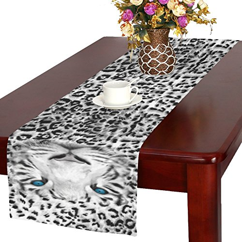 InterestPrint Animal Tiger Print Long Table Runner 16 X 72 Inches, Leopard Print Rectangle Table Runner Cotton Linen Cloth Placemat for Office Kitchen Dining Wedding Party Home Decor