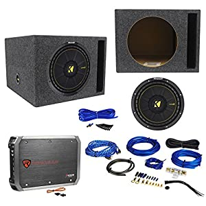 "KICKER 44CWCS124 CompC 12"" 600w Car Subwoofer+Vented Sub Box+Amplifier+Amp Kit"